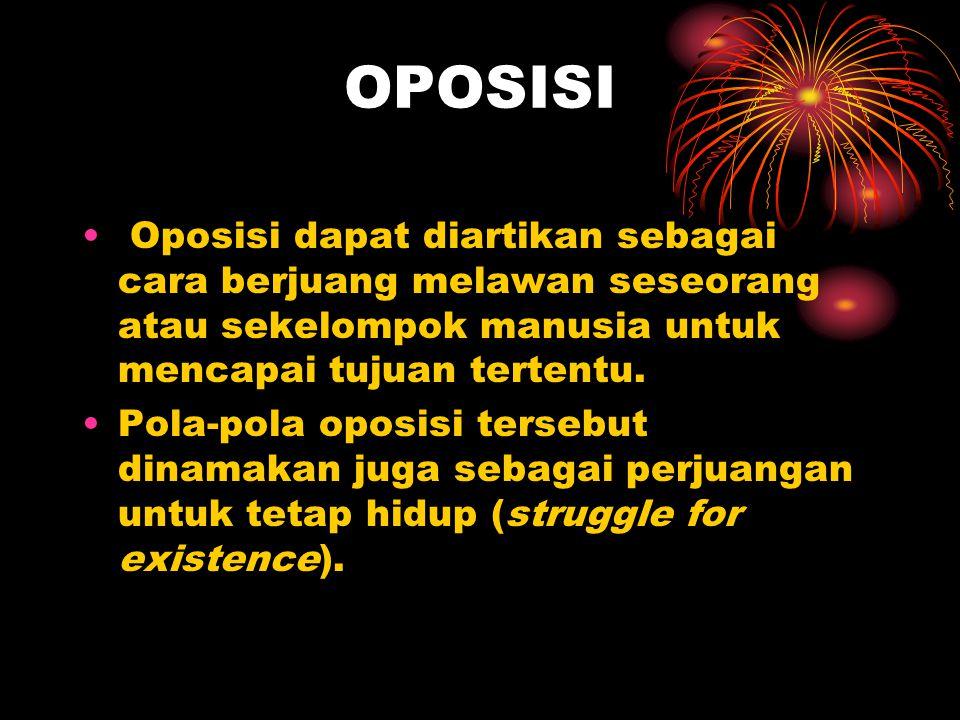 OPOSISI Oposisi dapat diartikan sebagai cara berjuang melawan seseorang atau sekelompok manusia untuk mencapai tujuan tertentu. Pola-pola oposisi ters