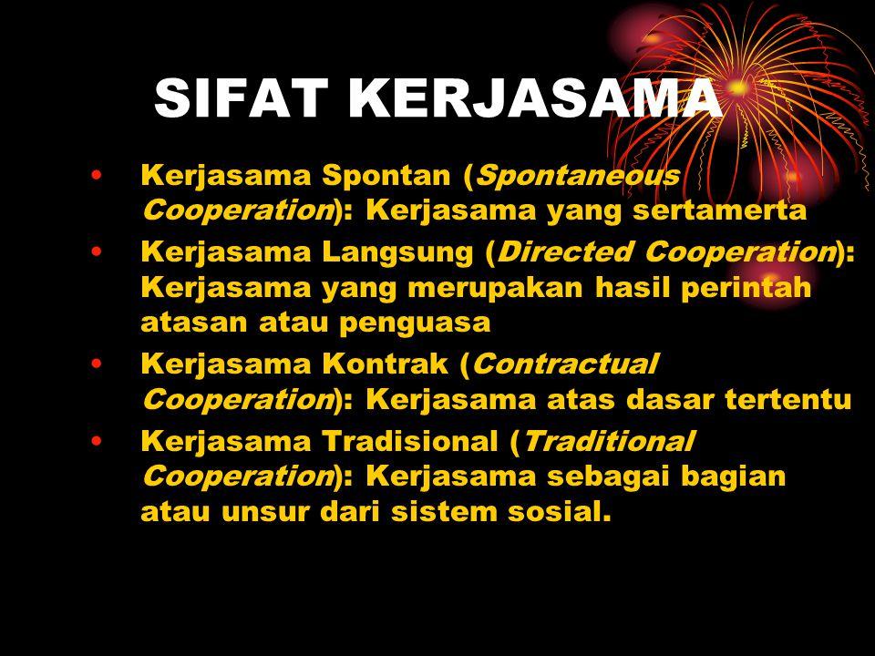 SIFAT KERJASAMA Kerjasama Spontan (Spontaneous Cooperation): Kerjasama yang sertamerta Kerjasama Langsung (Directed Cooperation): Kerjasama yang merup