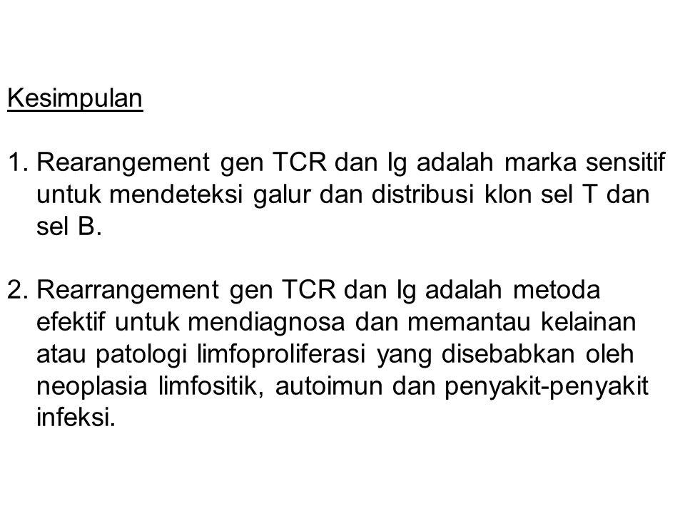 Kesimpulan 1. Rearangement gen TCR dan Ig adalah marka sensitif untuk mendeteksi galur dan distribusi klon sel T dan sel B. 2. Rearrangement gen TCR d