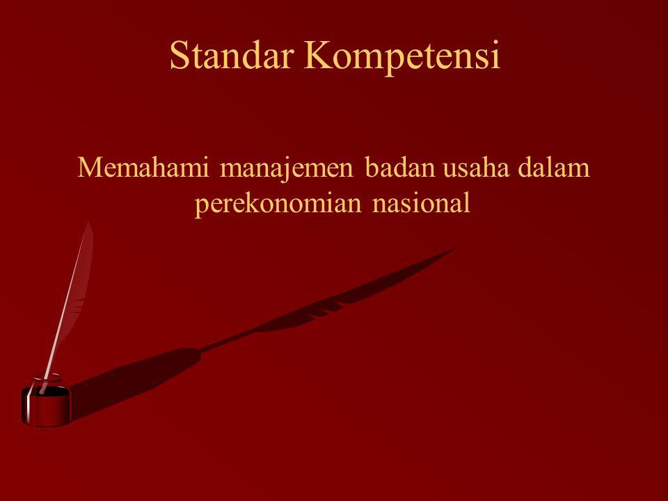 Standar Kompetensi Memahami manajemen badan usaha dalam perekonomian nasional