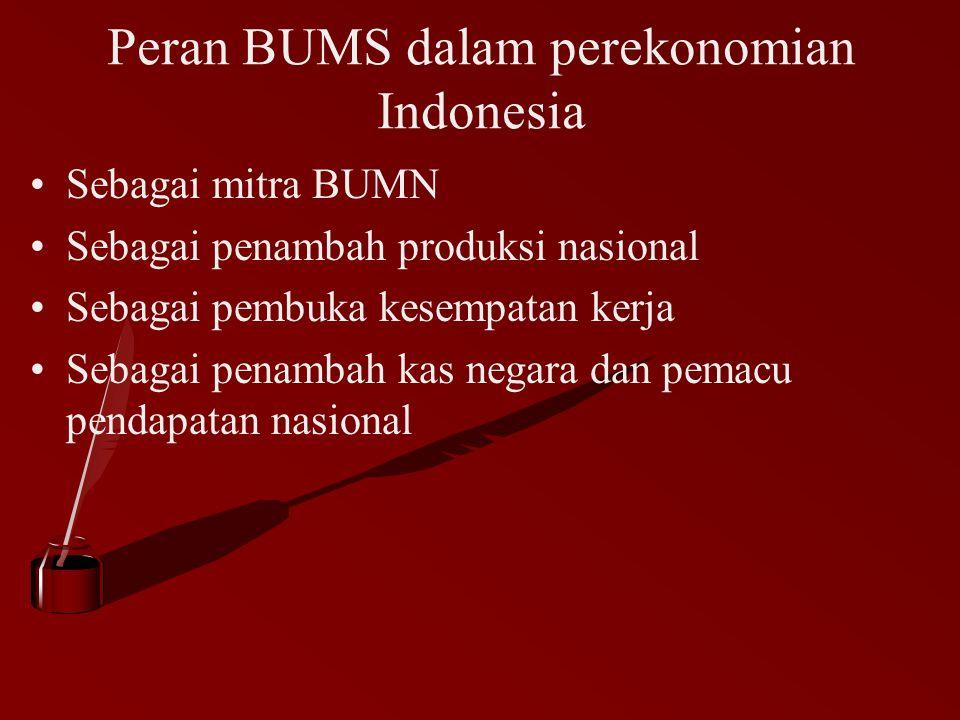 Peran BUMS dalam perekonomian Indonesia Sebagai mitra BUMN Sebagai penambah produksi nasional Sebagai pembuka kesempatan kerja Sebagai penambah kas ne