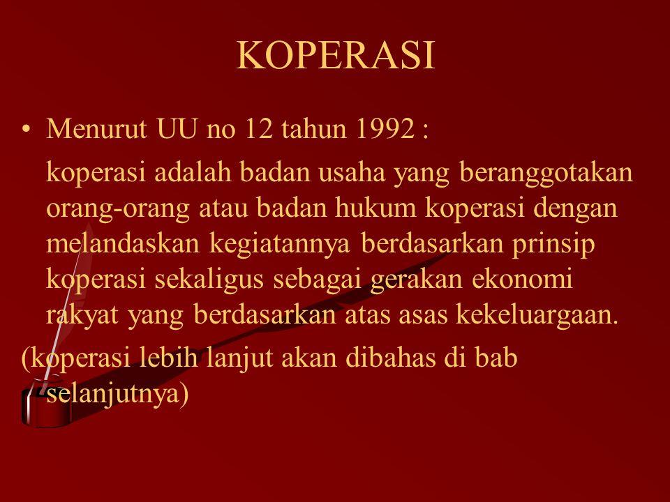 KOPERASI Menurut UU no 12 tahun 1992 : koperasi adalah badan usaha yang beranggotakan orang-orang atau badan hukum koperasi dengan melandaskan kegiata