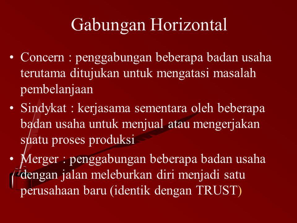 Gabungan Horizontal Concern : penggabungan beberapa badan usaha terutama ditujukan untuk mengatasi masalah pembelanjaan Sindykat : kerjasama sementara