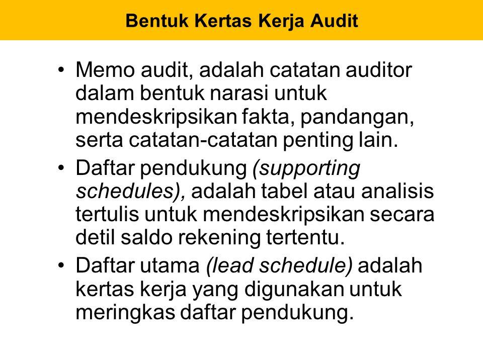 Memo audit, adalah catatan auditor dalam bentuk narasi untuk mendeskripsikan fakta, pandangan, serta catatan-catatan penting lain. Daftar pendukung (s