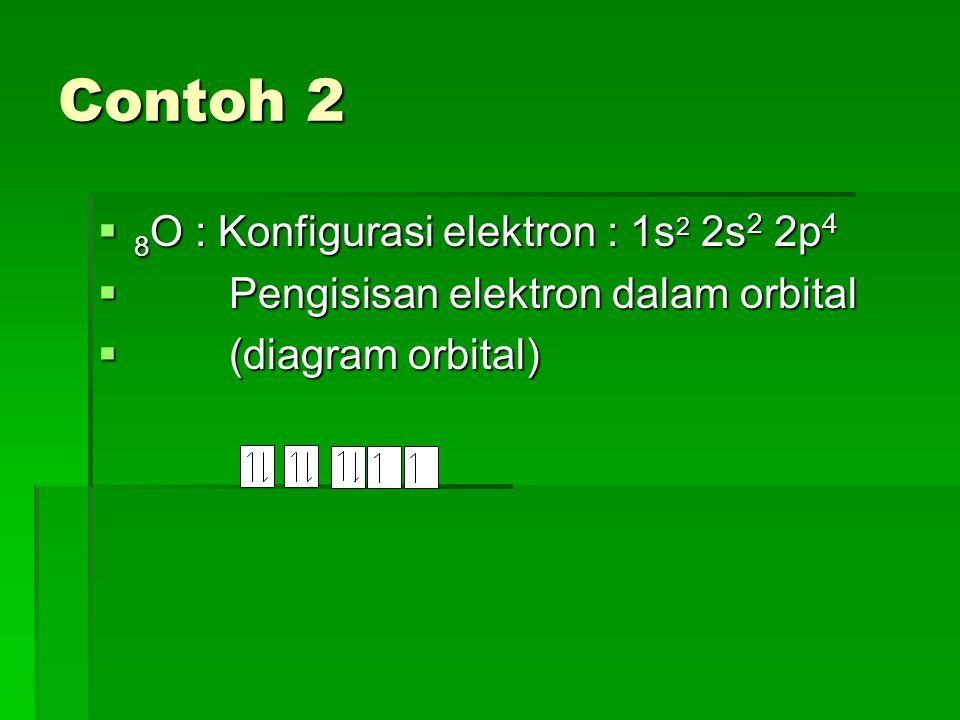 Contoh 3  10 Ne : Konfigurasi elektron : 1s 2 2s 2 2p 6  Pengisisan elektron dalam orbital  (diagram orbital)
