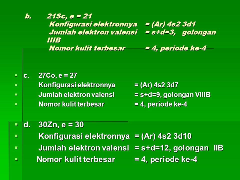 LATIHAN SOAL  1.Unsur X terletak pada periode 3 dengan elektron valensi=7.