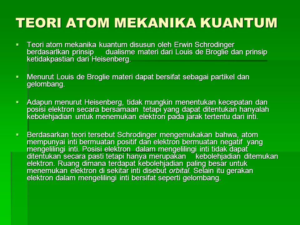 TEORI ATOM MEKANIKA KUANTUM  Teori atom mekanika kuantum disusun oleh Erwin Schrodinger berdasarlkan prinsip dualisme materi dari Louis de Broglie da
