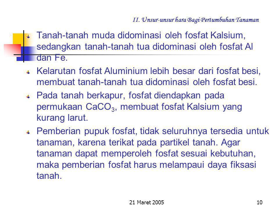 21 Maret 20059 II. Unsur-unsur hara Bagi Pertumbuhan Tanaman Sumber Fosfat dapat dijelaskan bahwa zat Fosfat berada di dalam tanah sebagai fosfat mine