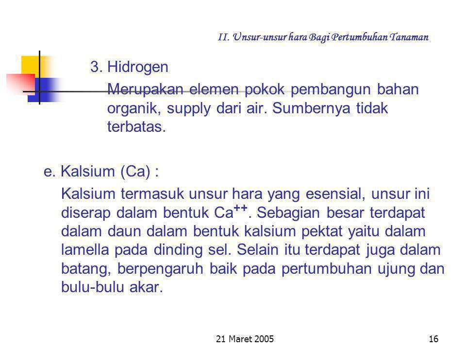 21 Maret 200515 II. Unsur-unsur hara Bagi Pertumbuhan Tanaman Kandungan carbon bervariasi diatas tanah, diatas daun, dalam hal ini satu meter diatas t