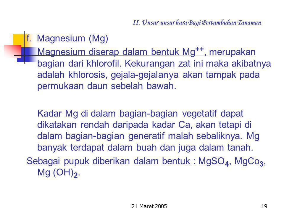 21 Maret 200518 II. Unsur-unsur hara Bagi Pertumbuhan Tanaman 4. Kekurangan Ca pada tanaman gejalanya pada pucuk 5. Ca penting bagi pertumbuhan akar,