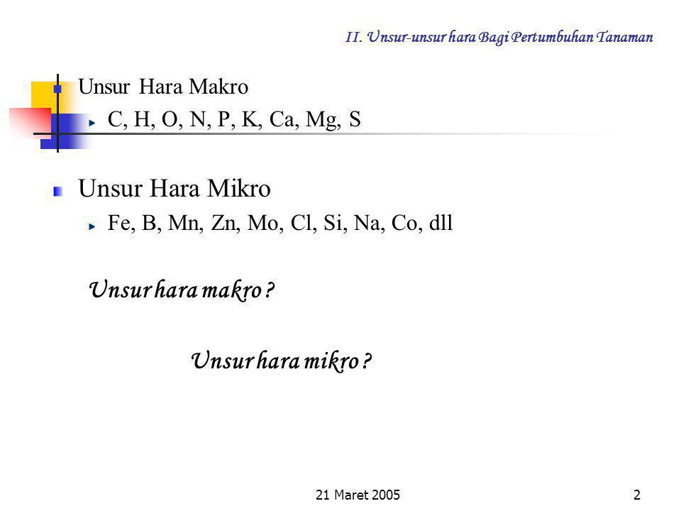 21 Maret 20051 II. Unsur-unsur hara Bagi Pertumbuhan Tanaman 2.1. Unsur-unsur Hara Penyusun Tanaman Berdasarkan hasil penelitian para ahli telah menun
