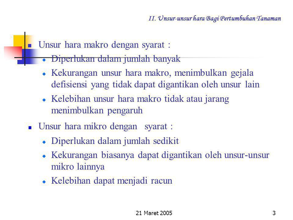 21 Maret 20052 II. Unsur-unsur hara Bagi Pertumbuhan Tanaman Unsur Hara Makro C, H, O, N, P, K, Ca, Mg, S Unsur Hara Mikro Fe, B, Mn, Zn, Mo, Cl, Si,