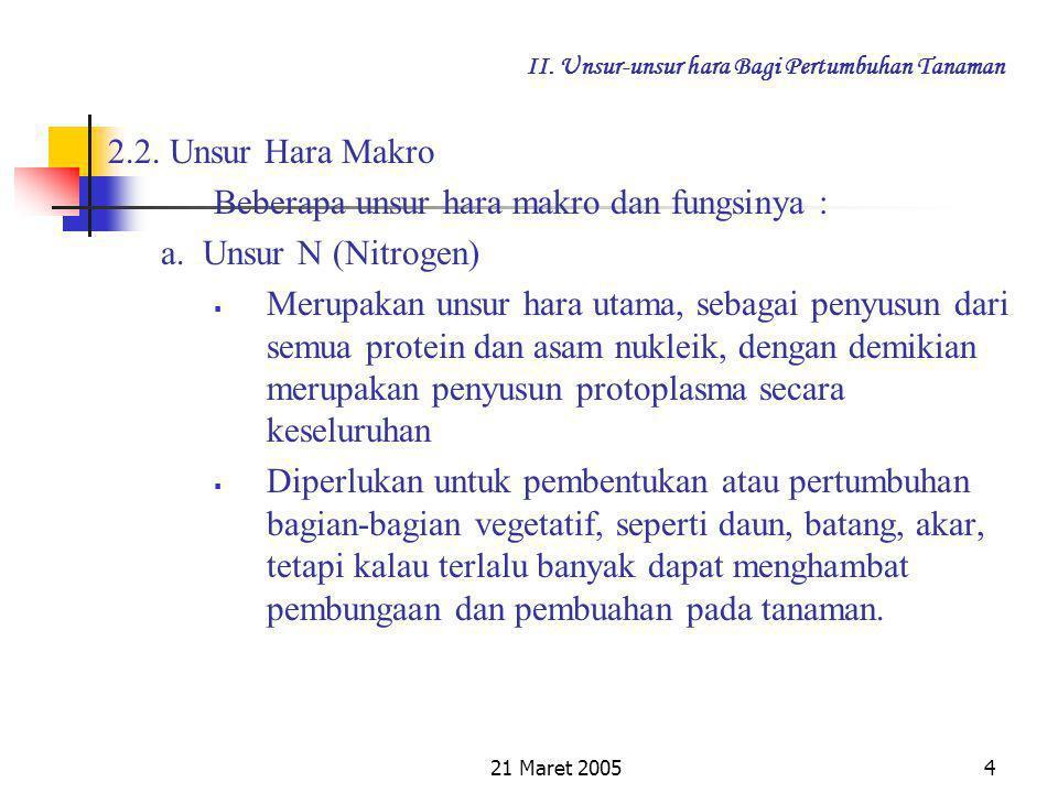 21 Maret 20053 II. Unsur-unsur hara Bagi Pertumbuhan Tanaman Unsur hara makro dengan syarat : Diperlukan dalam jumlah banyak Kekurangan unsur hara mak