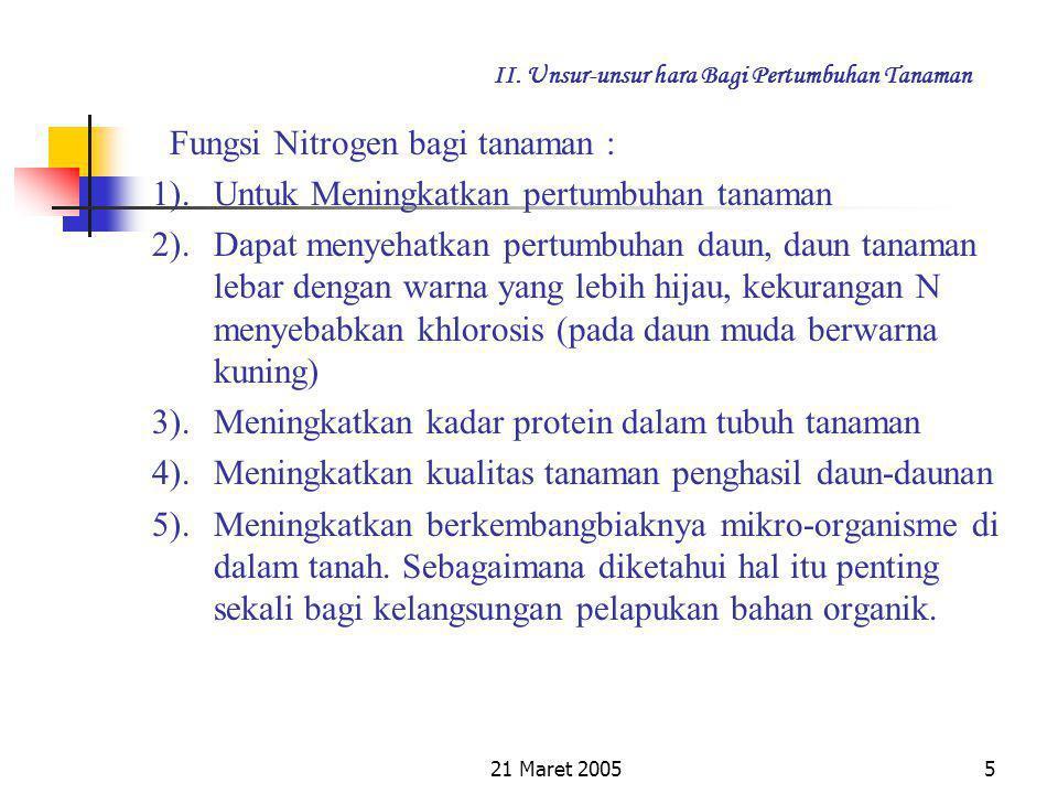 21 Maret 20054 II. Unsur-unsur hara Bagi Pertumbuhan Tanaman 2.2. Unsur Hara Makro Beberapa unsur hara makro dan fungsinya : a. Unsur N (Nitrogen)  M