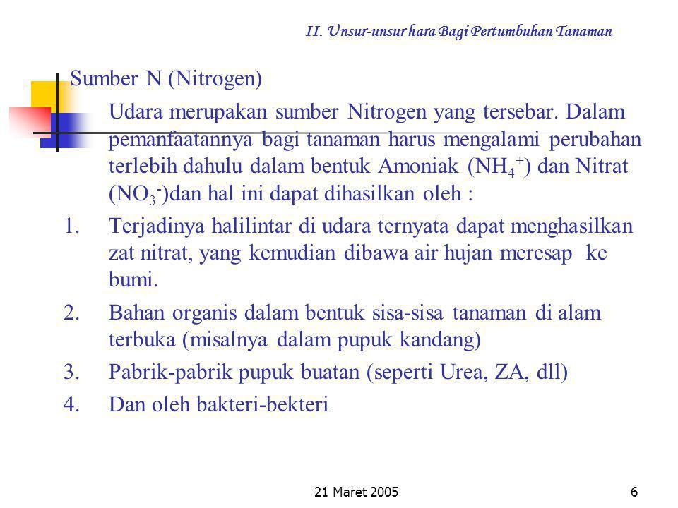 21 Maret 20055 II. Unsur-unsur hara Bagi Pertumbuhan Tanaman Fungsi Nitrogen bagi tanaman : 1).Untuk Meningkatkan pertumbuhan tanaman 2).Dapat menyeha