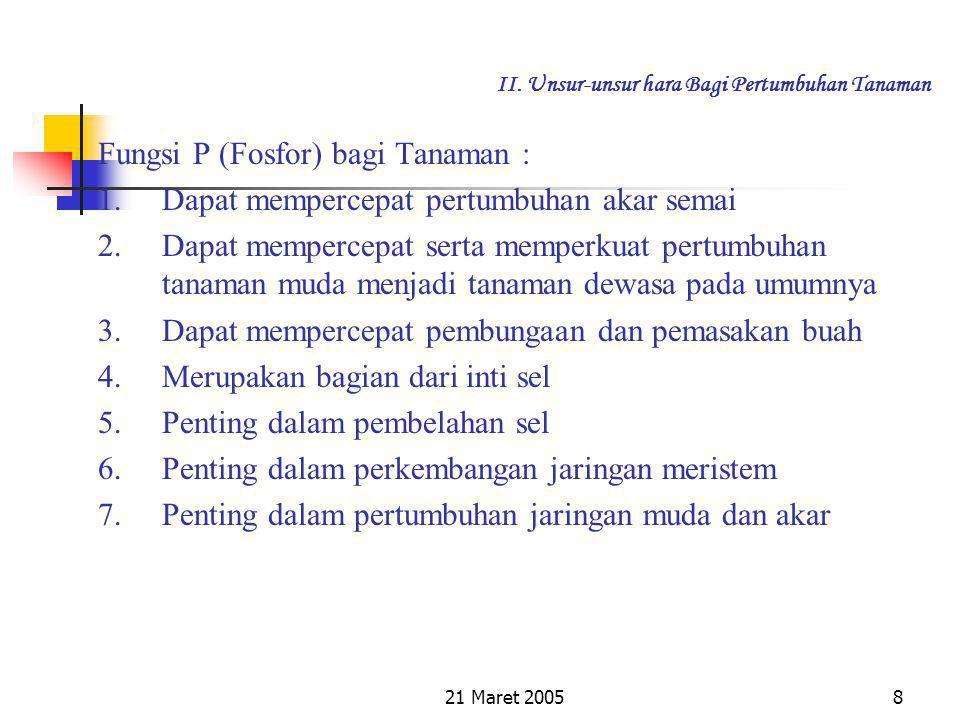 21 Maret 200518 II.Unsur-unsur hara Bagi Pertumbuhan Tanaman 4.