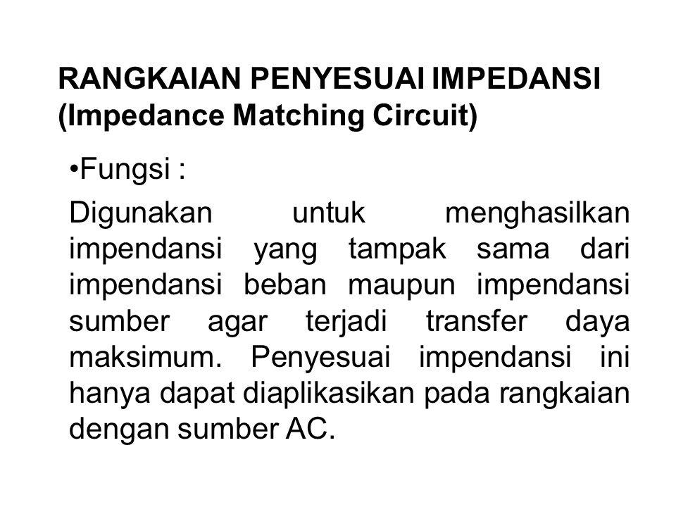 RANGKAIAN PENYESUAI IMPEDANSI (Impedance Matching Circuit) Fungsi : Digunakan untuk menghasilkan impendansi yang tampak sama dari impendansi beban mau