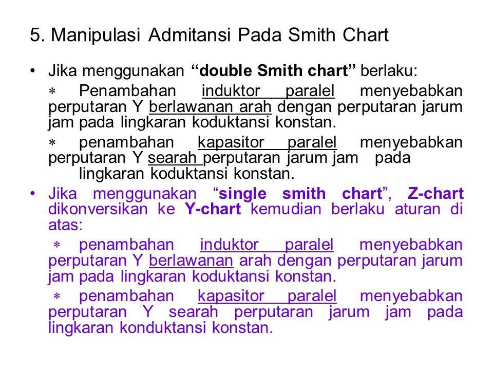 """5. Manipulasi Admitansi Pada Smith Chart Jika menggunakan """"double Smith chart"""" berlaku:  Penambahan induktor paralel menyebabkan perputaran Y berlawa"""