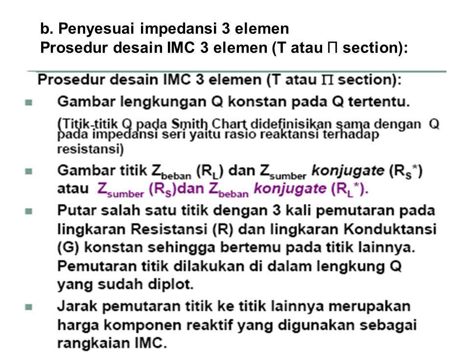 b. Penyesuai impedansi 3 elemen Prosedur desain IMC 3 elemen (T atau Π section):