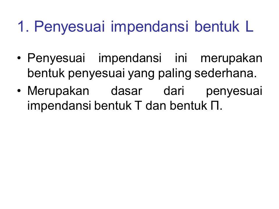 1. Penyesuai impendansi bentuk L Penyesuai impendansi ini merupakan bentuk penyesuai yang paling sederhana. Merupakan dasar dari penyesuai impendansi