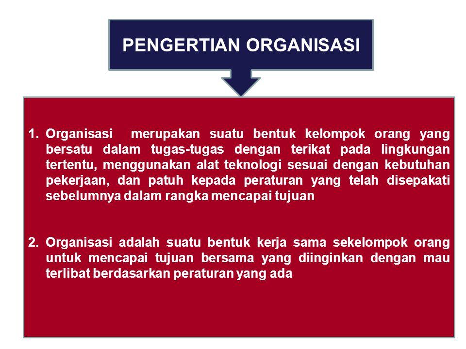 PENGERTIAN ORGANISASI 1.Organisasi merupakan suatu bentuk kelompok orang yang bersatu dalam tugas-tugas dengan terikat pada lingkungan tertentu, menggunakan alat teknologi sesuai dengan kebutuhan pekerjaan, dan patuh kepada peraturan yang telah disepakati sebelumnya dalam rangka mencapai tujuan 2.