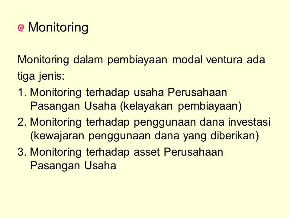 Monitoring Monitoring dalam pembiayaan modal ventura ada tiga jenis: 1. Monitoring terhadap usaha Perusahaan Pasangan Usaha (kelayakan pembiayaan) 2.