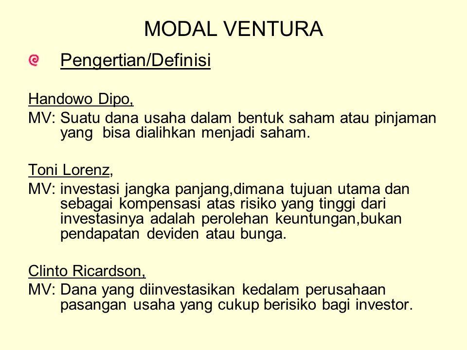 MODAL VENTURA Pengertian/Definisi Handowo Dipo, MV: Suatu dana usaha dalam bentuk saham atau pinjaman yang bisa dialihkan menjadi saham. Toni Lorenz,
