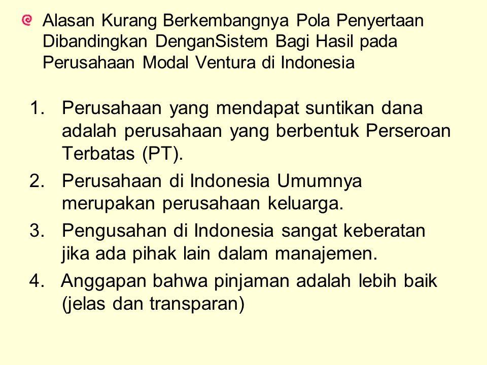 Alasan Kurang Berkembangnya Pola Penyertaan Dibandingkan DenganSistem Bagi Hasil pada Perusahaan Modal Ventura di Indonesia 1.Perusahaan yang mendapat