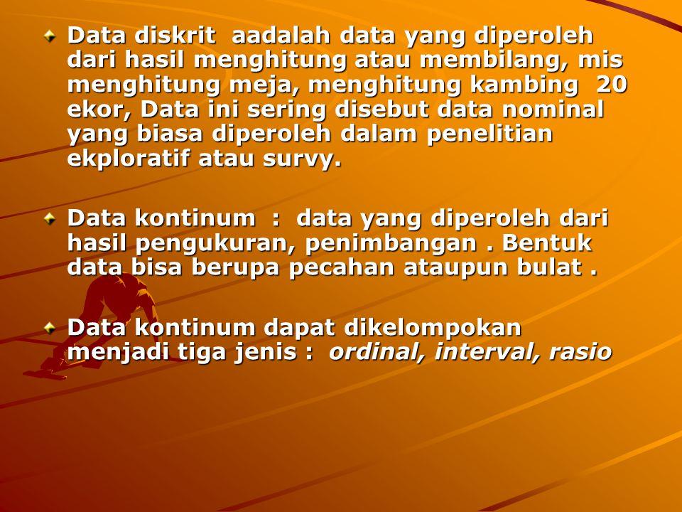 5. PENGERTIAN & JENIS DATA 1 Pengertian Data Data adalah sekumpulan informasi yang biasanya berbentuk angka yang dihasilkan dari pengukuran atau pengh