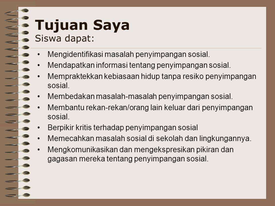 Tujuan Saya Siswa dapat: Mengidentifikasi masalah penyimpangan sosial.