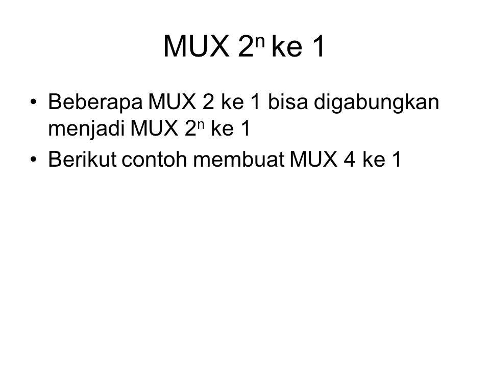 MUX 2 n ke 1 Beberapa MUX 2 ke 1 bisa digabungkan menjadi MUX 2 n ke 1 Berikut contoh membuat MUX 4 ke 1