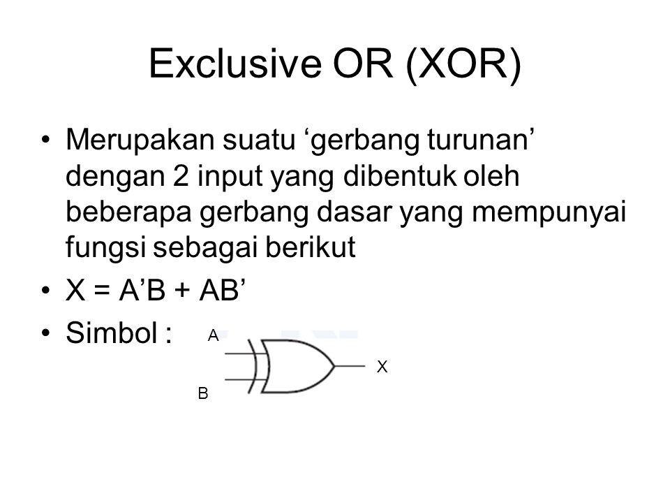 Exclusive OR (XOR) Merupakan suatu 'gerbang turunan' dengan 2 input yang dibentuk oleh beberapa gerbang dasar yang mempunyai fungsi sebagai berikut X