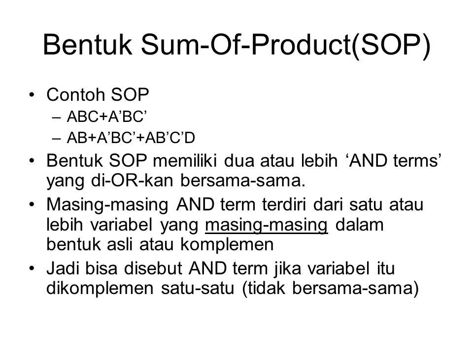Bentuk Sum-Of-Product(SOP) Contoh SOP –ABC+A'BC' –AB+A'BC'+AB'C'D Bentuk SOP memiliki dua atau lebih 'AND terms' yang di-OR-kan bersama-sama. Masing-m