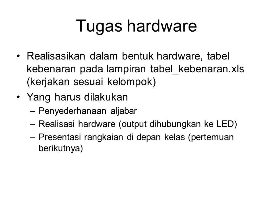 Tugas hardware Realisasikan dalam bentuk hardware, tabel kebenaran pada lampiran tabel_kebenaran.xls (kerjakan sesuai kelompok) Yang harus dilakukan –