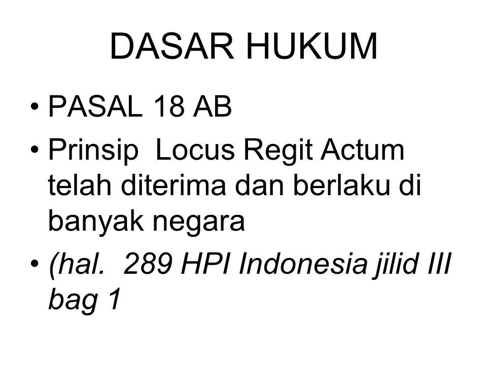 DASAR HUKUM PASAL 18 AB Prinsip Locus Regit Actum telah diterima dan berlaku di banyak negara (hal. 289 HPI Indonesia jilid III bag 1