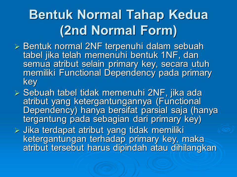 Bentuk Normal Tahap Kedua (2nd Normal Form)  Bentuk normal 2NF terpenuhi dalam sebuah tabel jika telah memenuhi bentuk 1NF, dan semua atribut selain