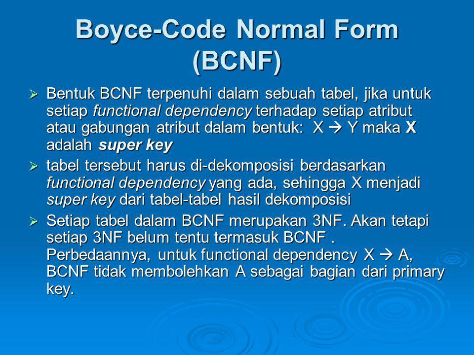 Boyce-Code Normal Form (BCNF)  Bentuk BCNF terpenuhi dalam sebuah tabel, jika untuk setiap functional dependency terhadap setiap atribut atau gabunga