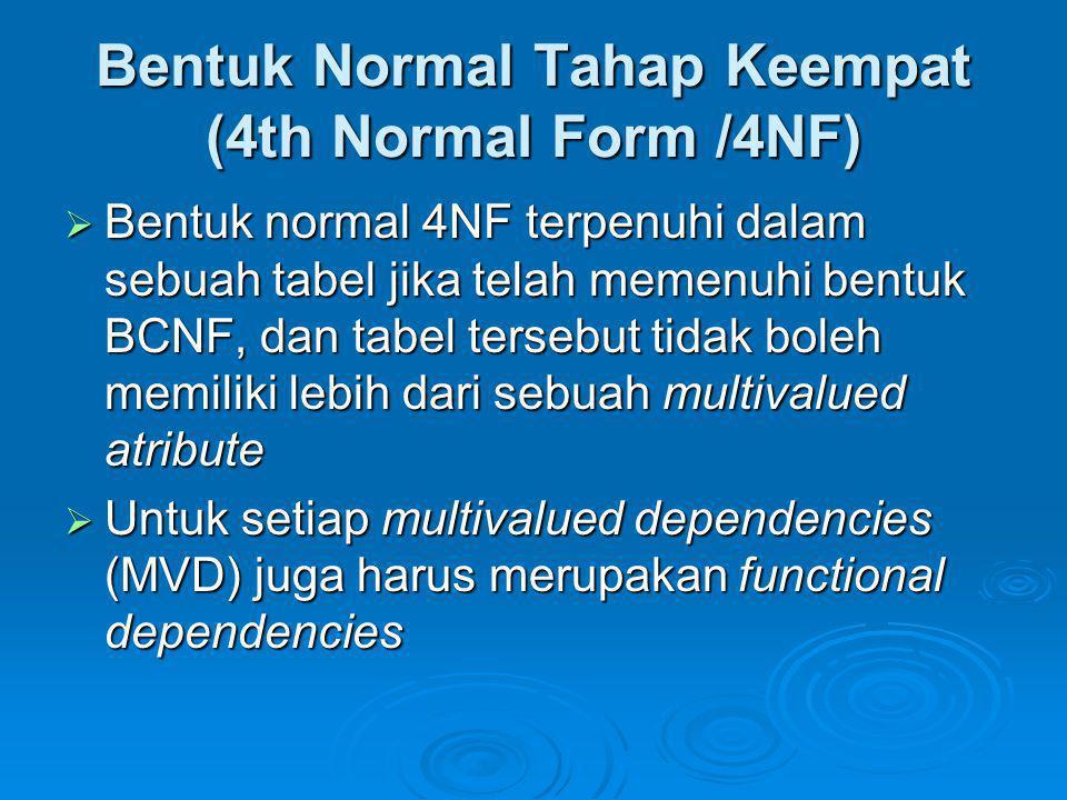 Bentuk Normal Tahap Keempat (4th Normal Form /4NF)  Bentuk normal 4NF terpenuhi dalam sebuah tabel jika telah memenuhi bentuk BCNF, dan tabel tersebu