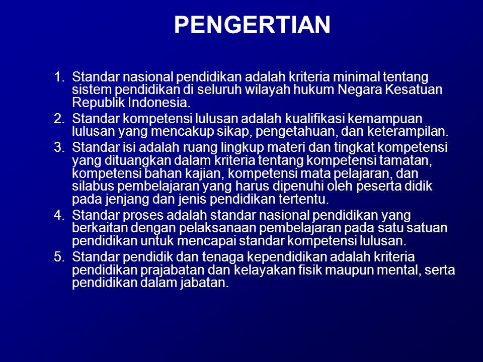 PENGERTIAN 1.Standar nasional pendidikan adalah kriteria minimal tentang sistem pendidikan di seluruh wilayah hukum Negara Kesatuan Republik Indonesia