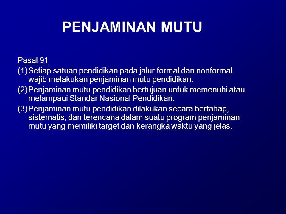 PENJAMINAN MUTU Pasal 91 (1)Setiap satuan pendidikan pada jalur formal dan nonformal wajib melakukan penjaminan mutu pendidikan. (2)Penjaminan mutu pe