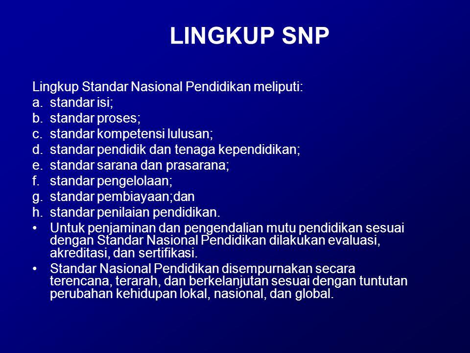 LINGKUP SNP Lingkup Standar Nasional Pendidikan meliputi: a.standar isi; b.standar proses; c.standar kompetensi lulusan; d.standar pendidik dan tenaga