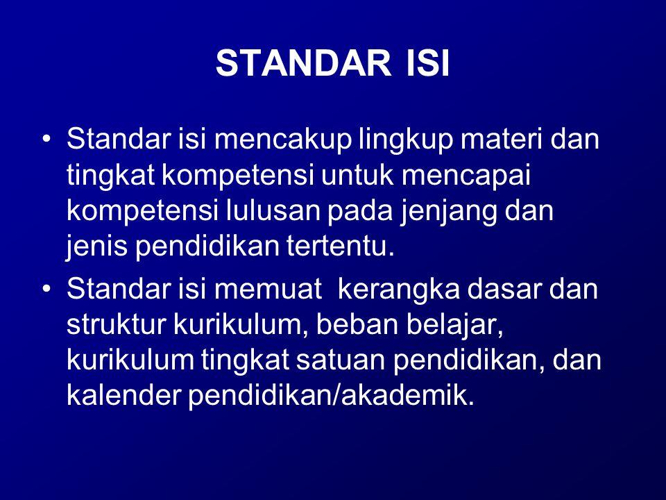 STANDAR ISI Standar isi mencakup lingkup materi dan tingkat kompetensi untuk mencapai kompetensi lulusan pada jenjang dan jenis pendidikan tertentu. S