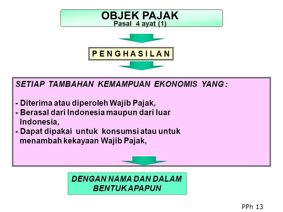 SETIAP TAMBAHAN KEMAMPUAN EKONOMIS YANG : - Diterima atau diperoleh Wajib Pajak, - Berasal dari Indonesia maupun dari luar Indonesia, - Dapat dipakai