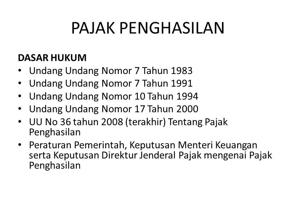 PAJAK PENGHASILAN DASAR HUKUM Undang Undang Nomor 7 Tahun 1983 Undang Undang Nomor 7 Tahun 1991 Undang Undang Nomor 10 Tahun 1994 Undang Undang Nomor