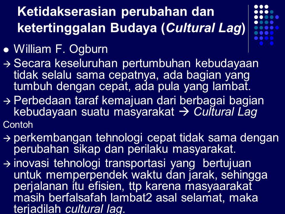 Ketidakserasian perubahan dan ketertinggalan Budaya (Cultural Lag) William F.