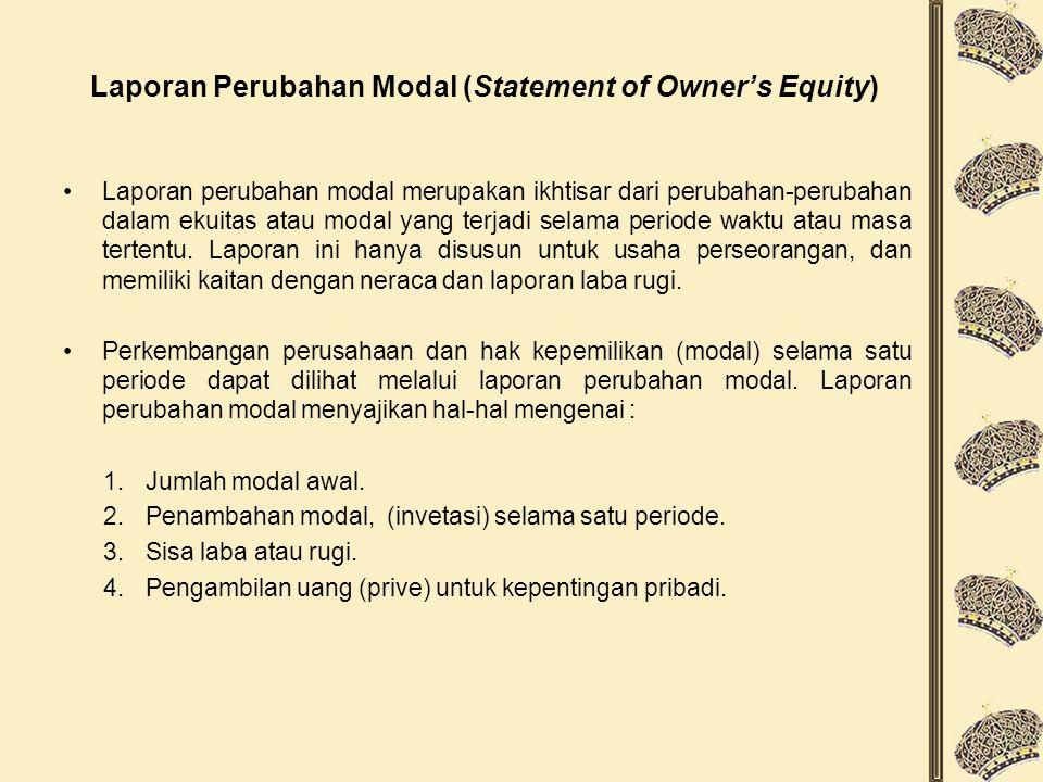 Laporan Perubahan Modal (Statement of Owner's Equity) Laporan perubahan modal merupakan ikhtisar dari perubahan-perubahan dalam ekuitas atau modal yang terjadi selama periode waktu atau masa tertentu.