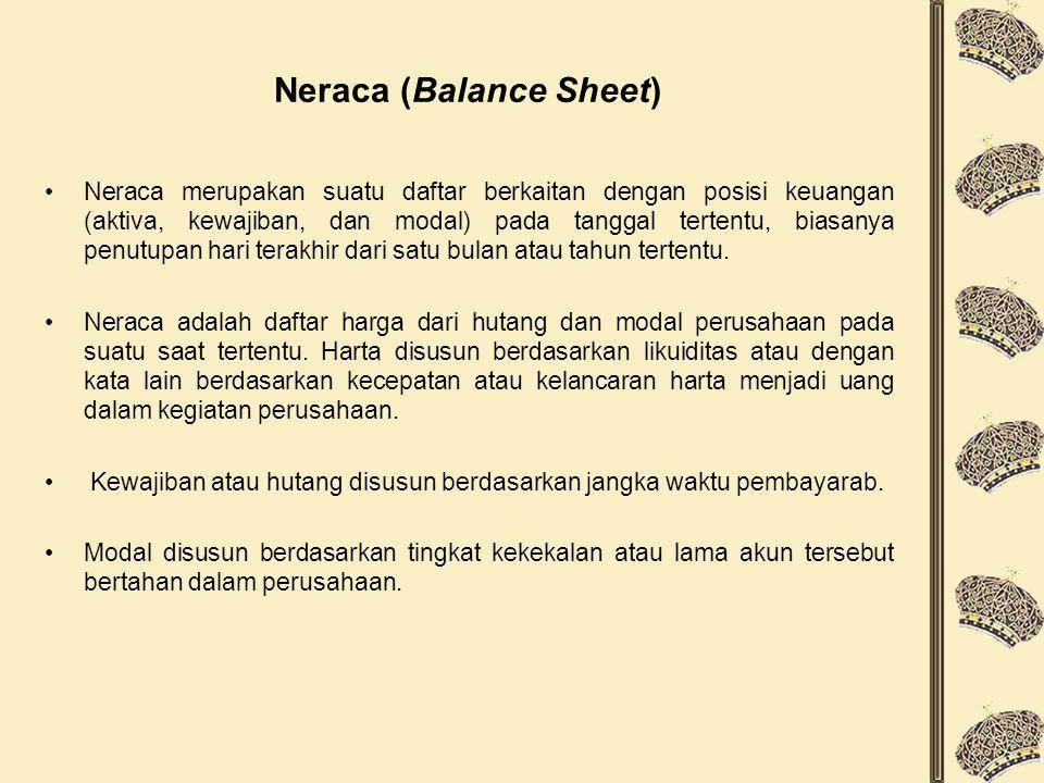 Neraca (Balance Sheet) Neraca merupakan suatu daftar berkaitan dengan posisi keuangan (aktiva, kewajiban, dan modal) pada tanggal tertentu, biasanya p
