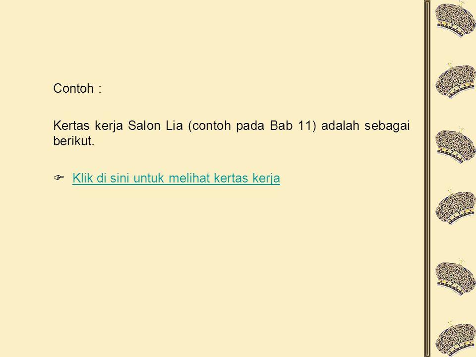 Contoh : Kertas kerja Salon Lia (contoh pada Bab 11) adalah sebagai berikut.