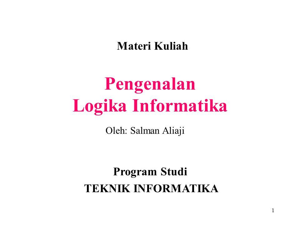 1 Pengenalan Logika Informatika Materi Kuliah Program Studi TEKNIK INFORMATIKA Oleh: Salman Aliaji