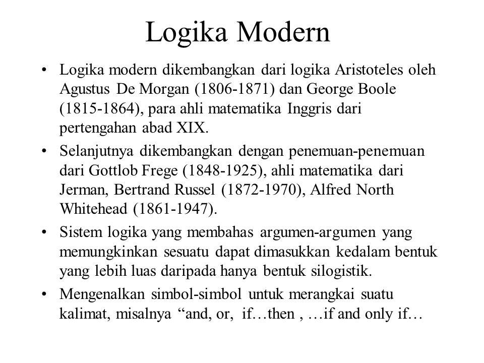 Logika Klasik Pertama kali diperkenalkan oleh Aristoteles Disebut juga logika Aristoteles, menurutnya suatu silogisme adalah suatu argumen yang terben